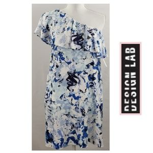 🔺️FINAL🔺️Blue & White Ruffle Floral One Shoulder
